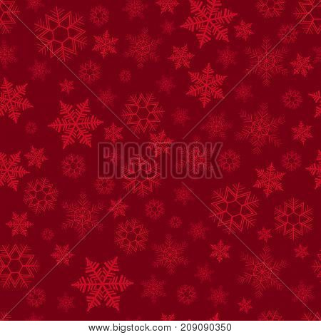 Seamless pattern with scattering of snowflakes on red background. Christmas decoration for cards banners booklets brochures leaflets. Vector illustration
