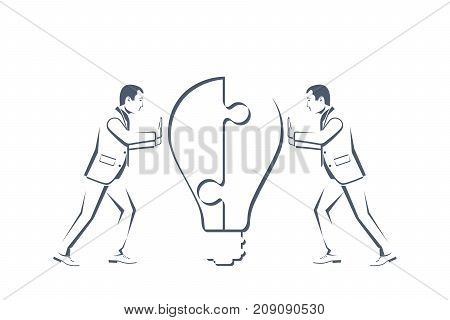 Two businessmen silhouette connecting puzzle bulb. Vector flat style design. Solution collaboration. Teamwork concept business people Symbol of working together, cooperation, partnership metaphor.