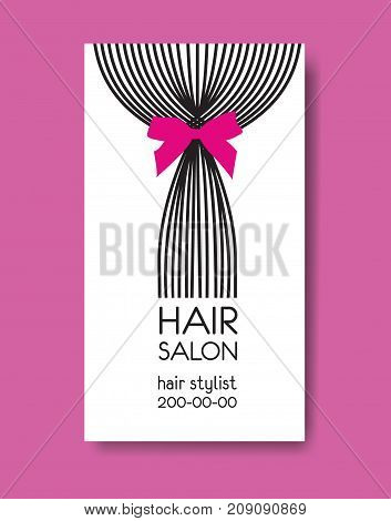 Template design business card with tail of  long straight hair and bow
