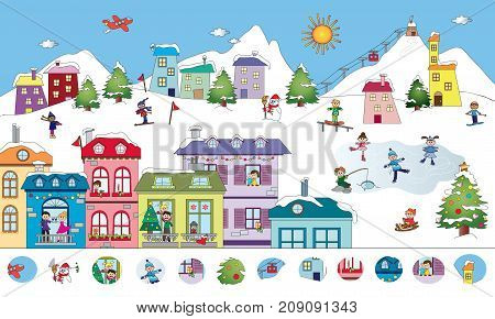 game for children: visual game of winter landscape
