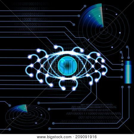 Brilliant HUD eye on a black background with light guides. Neon grid. Printed circuit board. Radar, battery. vector illustration