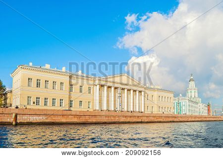 SAINT PETERSBURG RUSSIA - OCTOBER 32016. Architecture panorama of Saint Petersburg - buildings of the St Petersburg Academy of Sciences and Kunstkamera on Vasilevsky Island in Saint Petersburg Russia