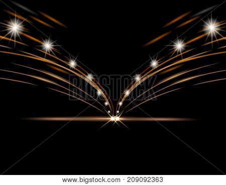 Abstract light effects. Car headlight. Road, street, expressway with lanterns on the sides. Vector illustration