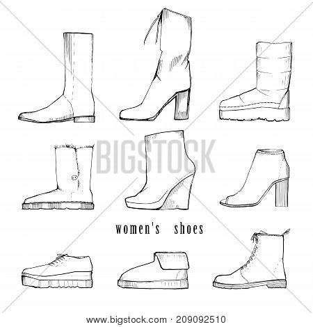 Vector illustration of Hand drawn set with winter women shoes. Graphic top view footwear for female and lady. Fashion design for legs.