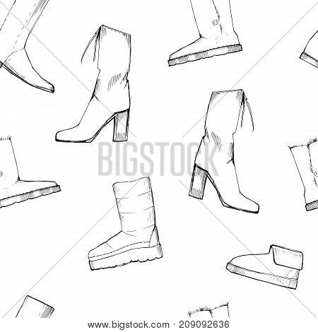 Vector illustration of Women seamless Hand drawn pattern with winter shoes. Fashion elegand footwear for female. Comfort for legs.