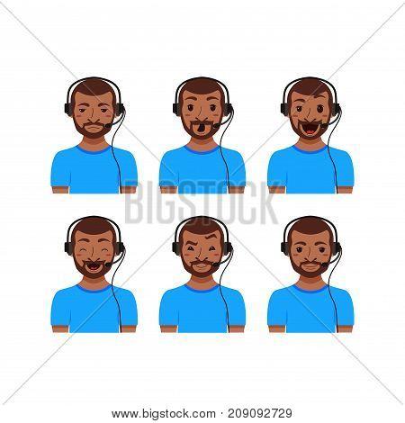 Call center customer support phone operator assistants flat avatars. Men emoji portrait set. Online live chat agents with headphones cartoon illustration