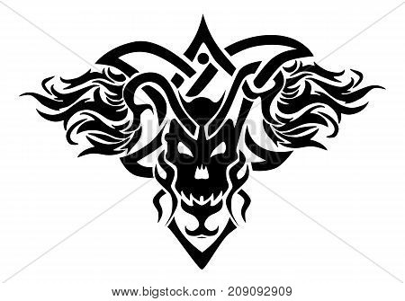 illustration of a skull ornament tattoo on isolated white background