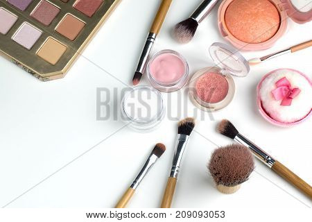 Beauty Concept : Cosmetics Top View On A White Table. Workplace, Cosmetic Bag
