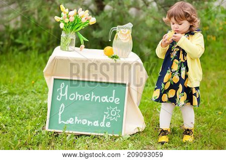 Horizontal natural light photo of a little girl with lemonade stand.