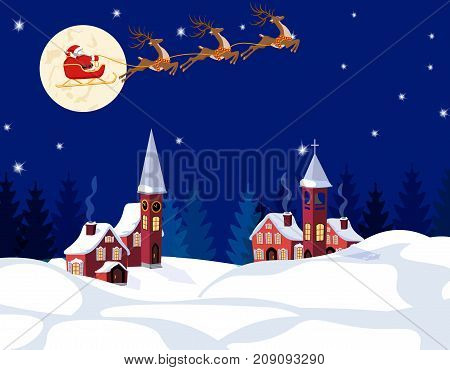 New Year Christmas. An image of Santa Claus and deer. Winter city on the eve of the New Year. Snow, moon, stars. Vector illustration