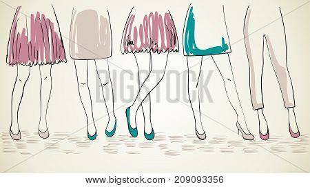 Vector girls in fashionable shoes. Hand drawn illustration.