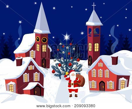 New Year, Christmas. An image of Santa Claus and a dressed up Christmas tree. Winter city on the eve of the New Year. Vector illustration
