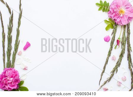 Romantic Flower Flat Lay Frame With Roses, Jasmine, Carnation, Daisies And Lupines