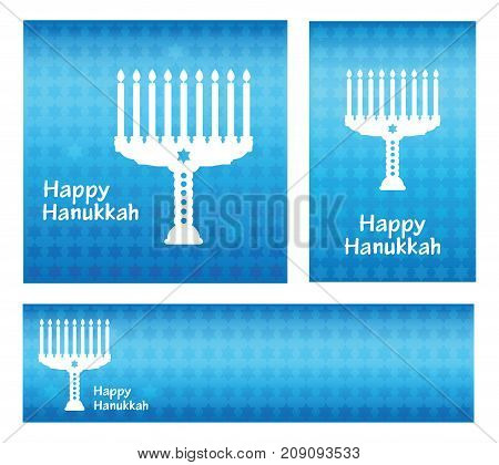 Hanukkah greeting card. Banners template with Happy Hanukkah lettering text on blue background with pattern stars of David.