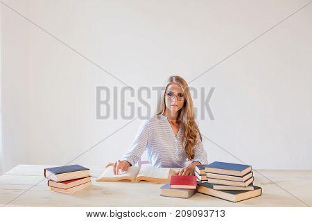 business girl Secretary reads books is preparing for the exam 1