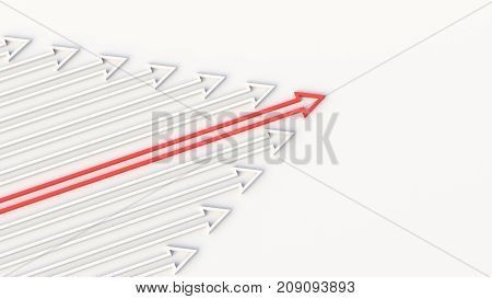 Leadership, Success, And Teamwork Concept, Red Leader Arrow Leading White Arrows. 3D Rendering.