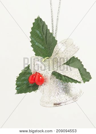 silver Cristmas bell isolated on white background