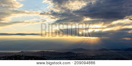 Athens, Greece. Astonishing Aerial View Of Sunset With Dark Clouds