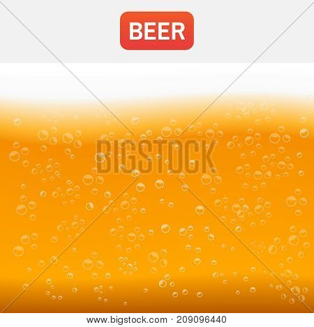 Beer Background Brewing. Beer Texture With Bubbles And Foam