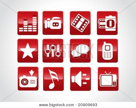 abstract beautiful web glassy icons set, red