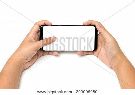 Hand Holding Cell Phone And Finger Touch On Blank White Screen