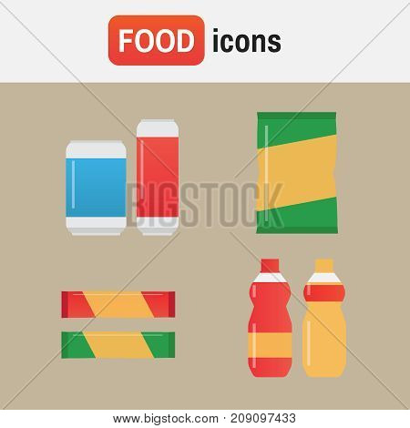 Fast Food Snacks And Drinks Flat Vector Icons. Fastfood Icons