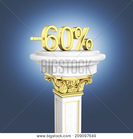 Gold Text 60 Percent Off Standing On The Pedestal On Dark Blue Gradient Background 3D Render