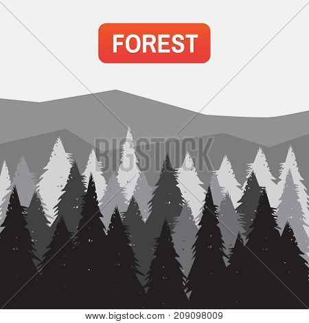 Tree Mountain Silhouette. Coniferous Pine Forest Vector Illustration. Wild Coniferous Forest Backgro