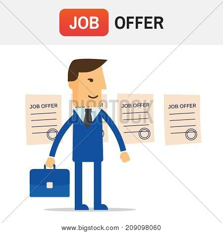 Manager Job Offers Chooses. Job Offers Vector