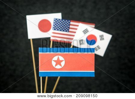 The flag of North Korea, United States of America (USA), South Korea and Japan made from paper on wooden stick against dark background.