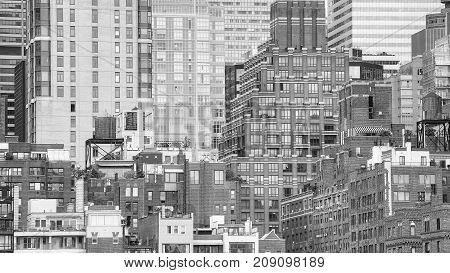 Black And White Picture Of Manhattan, Nyc.