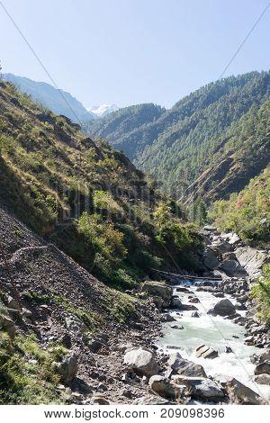 Trekking near nature reserve Langtang river of Nepal