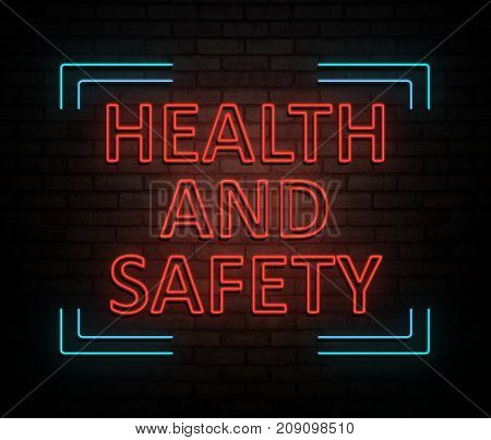 3d Illustration depicting an illuminated neon sign with a health and safety concept.