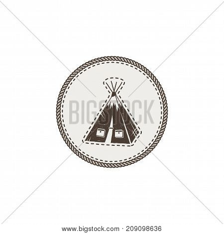tent icon, patch and sticker. Vintage hand drawn outdoor adventure design. Camping icon. Stock vector isolated on white background.