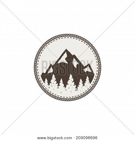 mountain patch and sticker. Vintage hand drawn outdoor adventure design. Mountains top, peak symbol. Camping icon. Stock vector isolated on white.