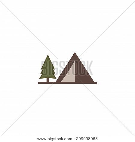 tent icon isolated on white background. Solid adventure symbol. Monochrome design. Use for logo creation. Stock vector illustration. Flat.