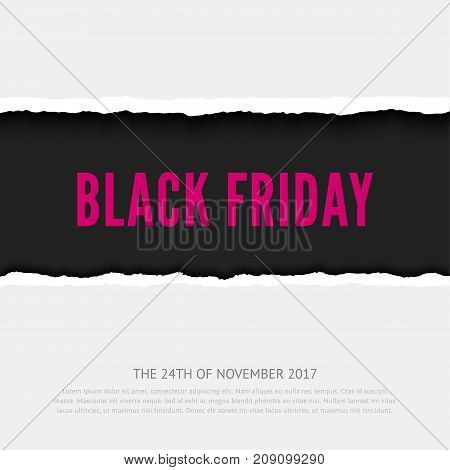 Black friday vector banner. Realistic paper illustration, hole in paper