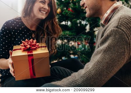 Young woman giving a Christmas present to her boyfriend. Happy couple celebrating Christmas at home.