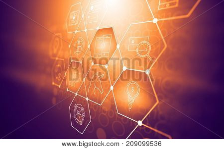 Abstract futuristic fintech illustration background with technology symbols about modern financial methods