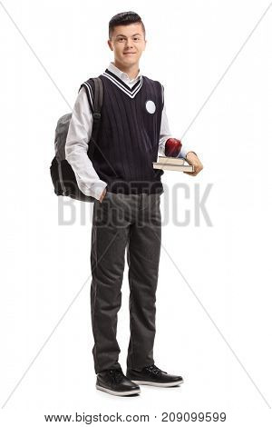 Full length portrait of a teenage student isolated on white background