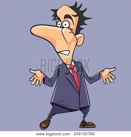 cartoon frightened man in a suit with a tie is surprised