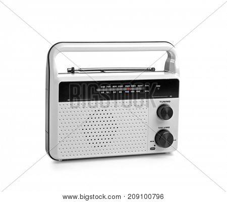 Radio receiver on white background