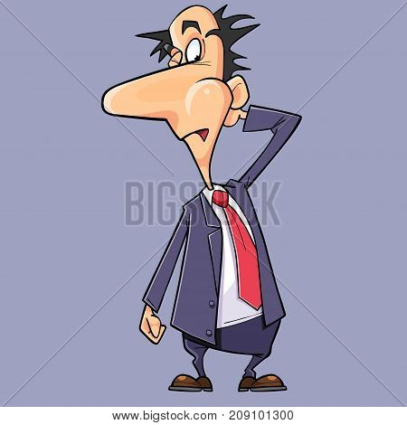 cartoon surprised man in a suit with a tie scratches his head