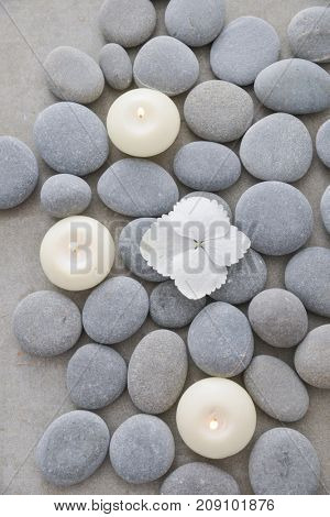 hydrangea petals with pile of gray stones with candle on gray background