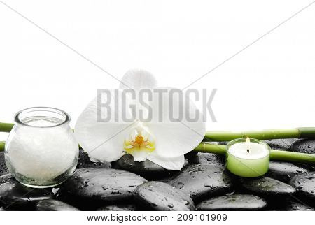 still life with pebbles and orchid,candle, salt in bowl, bamboo grove