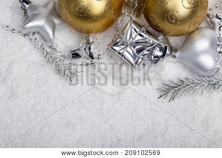 christmas decoration, in snow, gift box, star