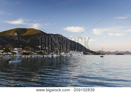 NYDRI, GREECE - OCTOBER 2, 2017: Boats in the harbour of Nydri village on Lefkada island in Greece on October 2, 2017.