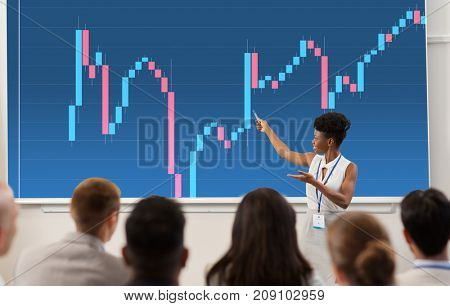 business, economy and people concept - smiling african american businesswoman or financier showing forex chart on projection screen to group of students at conference presentation or lecture