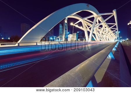 traffic trail at bridge,tianjin,china,asia.