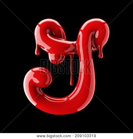 Leaky red alphabet on black background. Handwritten cursive letter G. 3d rendering